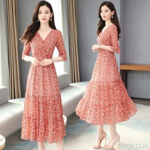 2020 new floral chiffon v-neck over the knee waist slimming long skirt