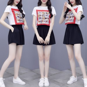 2020 new two-piece shorts t-shirt female Hong Kong style suit