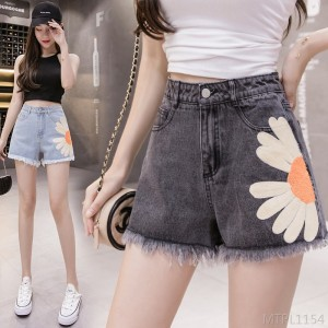 2020 new high waist a-line thin and loose raw edge summer thin denim