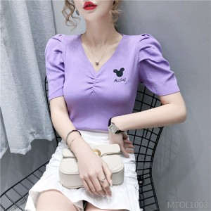2020 new ice silk knitted v-neck short-sleeved t-shirt was thin bubble