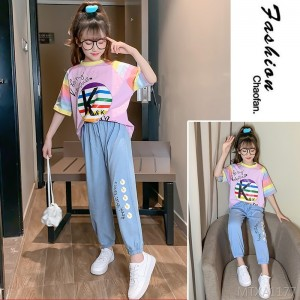 2020 new two-piece set in the big boy girl children's clothing Korean version of the rainbow