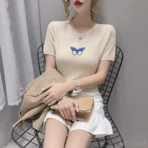 2020 new embroidery butterfly super fire ins short sleeve T-shirt