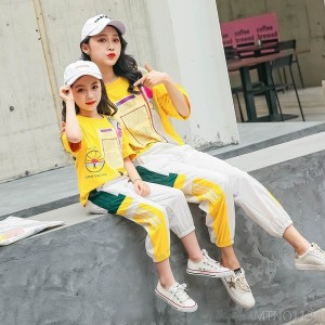 2020 new medium and large children girl casual loose short sleeve round neck