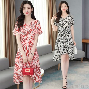 2020 new chiffon floral dress slim waist