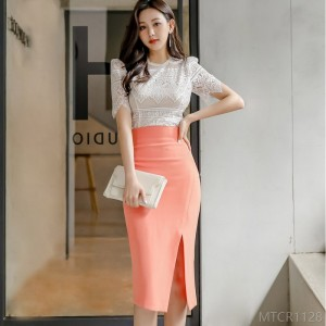 2020 new slim lace blouse bag hip split skirt suit