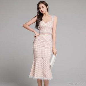 2020 new slim sling top stitching lace bag hip skirt suit