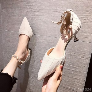 2020 new fine strap women's fashion sandals with 6cm pointed high heels