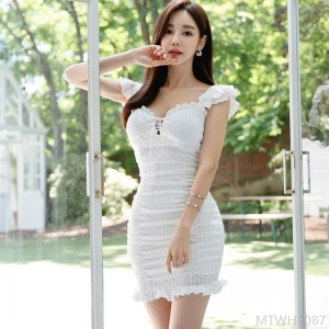 2020 new pleated bag hip dress female solid color