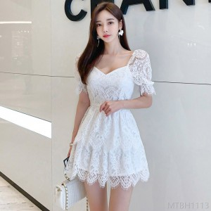 2020 new slim thin fresh lace mini dress