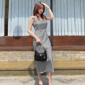2020 new slim plaid split dress women