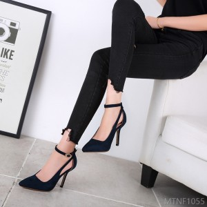 2020 new fine heel pointed high-heeled shoes hollow buckle shoes