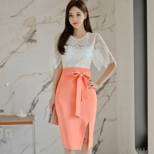 2020 New Slim Lace Top Fashion Hip Skirt Package