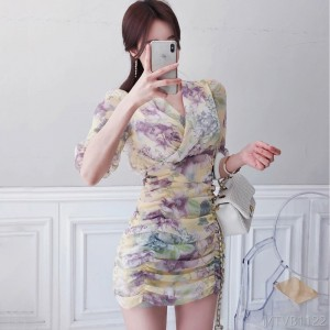 2020 new printed pleated bag hip fashion dress