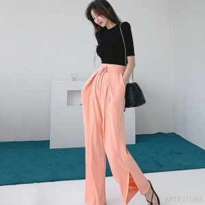 2020 new two-piece T-shirt knitted slim trouser suit
