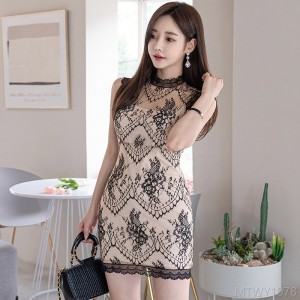 2020 new stitching lace fashion bag hip skirt dress