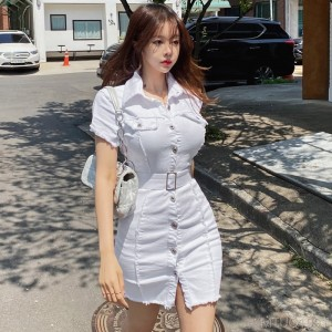 2020 new single-breasted belt waist wrap hip dress