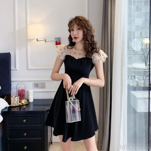 2020 new mesh yarn stitching little black dress