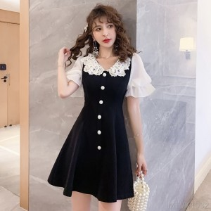 2020 New Celebrity Lantern Sleeve Short Sleeve Dress