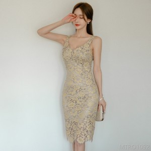 2020 new mid-length suspender skirt lace bag hip dress