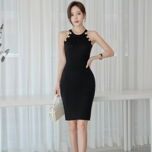 2020 new knitted button bag hip skirt fashion sexy dress