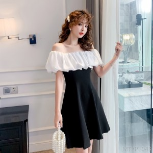 2020 new word collar ruffled puff sleeve dress
