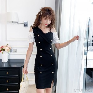 2020 new double-breasted sexy package hip dress black skirt