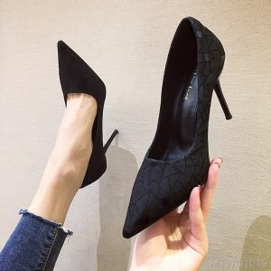 2020 New Sexy Professional Black Single Pointed Stiletto Heels