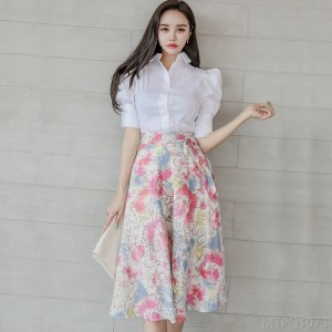 2020 new front and back two shirts shirt printed skirt suit