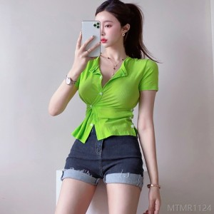 2020 new knitted button cardigan bottoming shirt top T-shirt