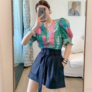 2020 new printed shirt top casual belt waist shorts suit
