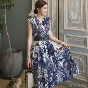 2020 new waist printed big swing skirt fashion dress
