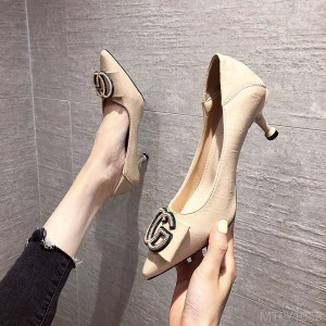 2020 new fashion simple shallow mouth pu fabric CG buckle fine heel pointed high heel
