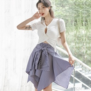 2020 new lace-up knitted top fashion striped skirt suit