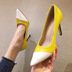 2020 new simple color matching stitching PU pointed shallow stiletto heels