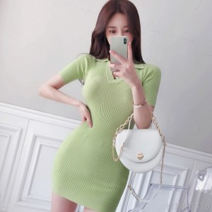 2020 new slim collar knitted casual bag hip skirt dress