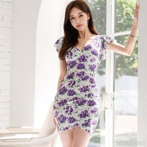 2020 new fashion print bag hip skirt lotus leaf sleeve dress