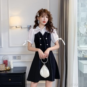 2020 new fake two pieces of thin black skirt commuter skirt