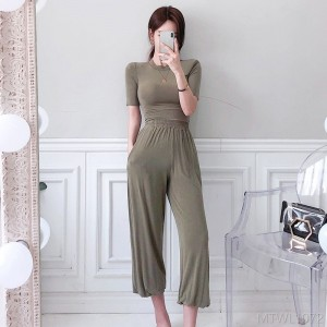 2020 new temperament slim T-shirt top casual loose trousers suit
