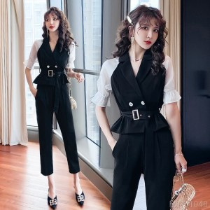 2020 new lapel fight receiving waist top + high waist nine points pants suit