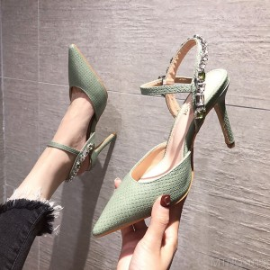 2020 new pointed pointed heel with rhinestone bright diamond snake pattern high heels