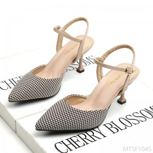 2020 new houndstooth hollow high-heeled pointed shoes