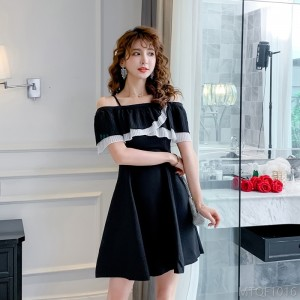 2020 new Hepburn style little black skirt waist slimming short skirt