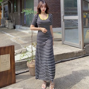 2020 new knitted striped dress fashion long skirt