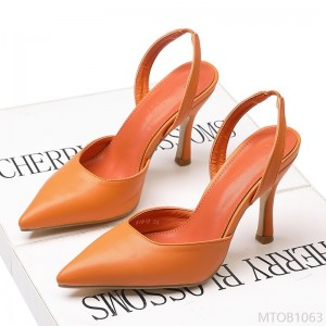2020 new leather shallow mouth high heels fine heel fashion