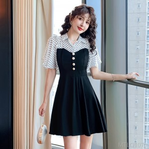 2020 new fake two-piece waist small black skirt storm point dress