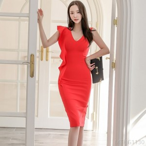 2020 new V-neck slim ruffled mid-length bag hip skirt dress