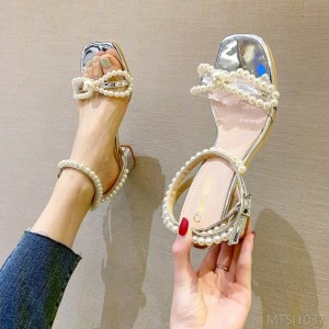 2020 New Pearl Knot Strap Thick Heel Sandals
