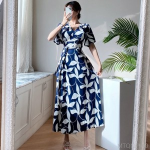 2020 new waist fashion printed long skirt wrap dress