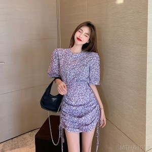 2020 new floral dress summer puff sleeves thin