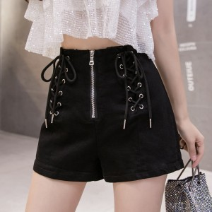 2020 new high waist drawstring wide leg stretch bag hip hot pants nightclub pants